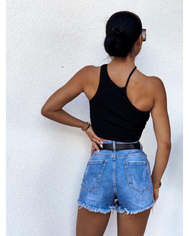 Spodenki jeansowe z cyrkoniami niebieskie