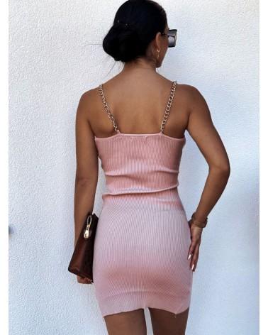 Sukienka na łańcuszkach pudrowa