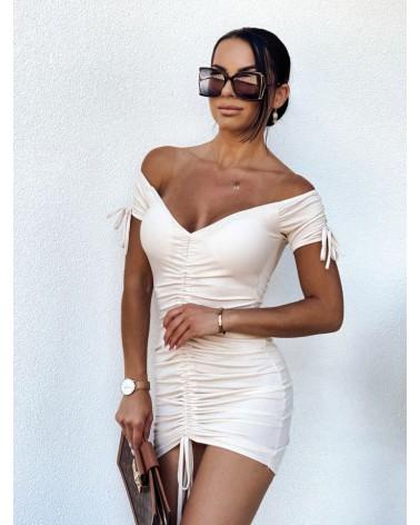 Sukienka z krótkim rękawem i ściągaczem beżowa