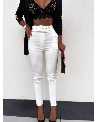 Spodnie materiałowe z wysokim stanem ecru