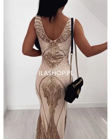Wieczorowa sukienka maxi z cekinami w kolorze beżowo-złotym