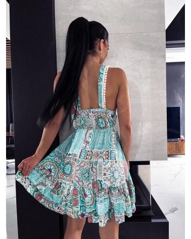 Krótka sukienka we wzory miętowa