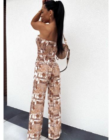 Komplet ze spodniami beżowy