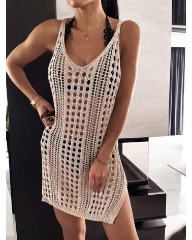 Sukienka na plaże beżowa