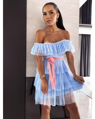 Sukienka ze wstążką błękitna