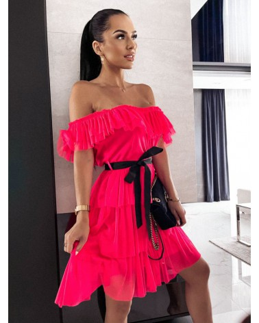 Sukienka ze wstążką fuksja